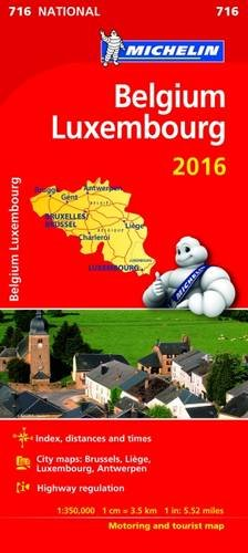 9782067210967: Belgium & Luxembourg 2016 National Map 716 2016 (Michelin National Maps)