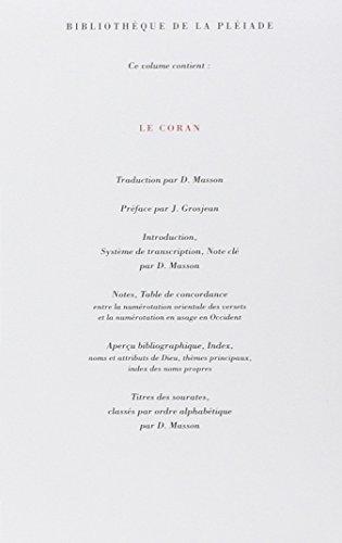 Le Coran [Koran] (Bibliotheque de la Pleiade) (French Edition): Anonyme