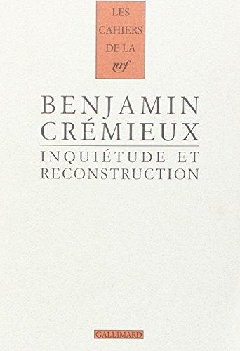 9782070131976: Inquiétude et reconstruction: Essai sur la littérature d'après-guerre (1931)