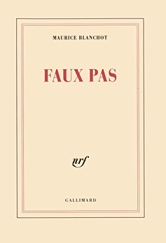 FAUX PAS (BLANCHE) (9782070207312) by BLANCHOT, MAURICE