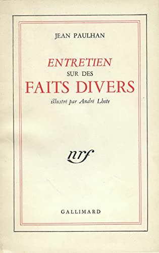 ENTRETIEN SUR DES FAITS DIVERS (2070249433) by Jean Paulhan