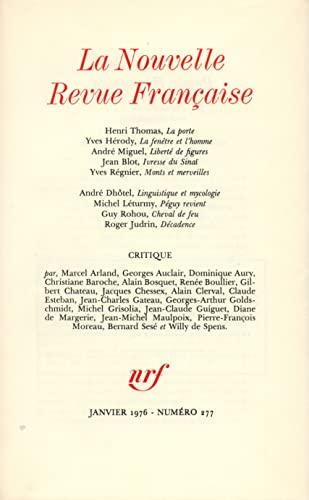 9782070293841: La Nouvelle Revue Fran�aise, N� 277, Janvier 1976