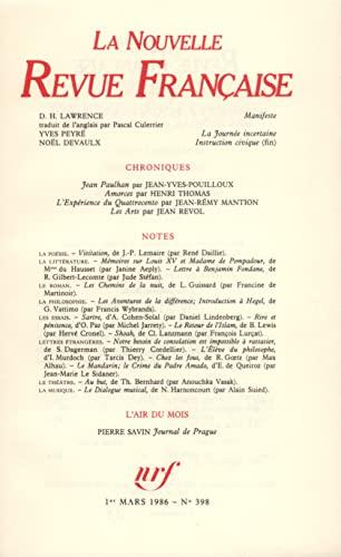 La n.r.f. 398 (mars 1986) (French Edition): Collectif