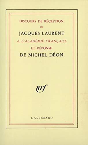 9782070710805: Discours de réception à l'Académie française et réponse de Michel Déon