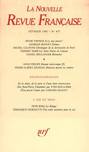 9782070722136: La N.R.F. numéro 457, février 1991