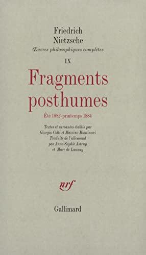 Fragments posthumes (Eté 1882 - printemps 1884) - X