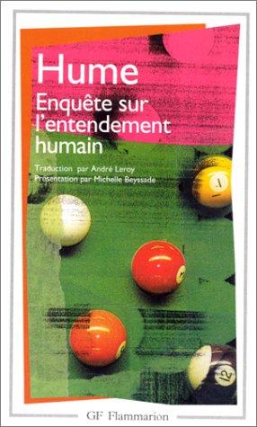 Enquete sur l'entendement humain, traite de la: David Hume