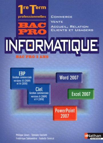 9782091612928: Informatique 1e et Tle professionnelles Vente - Commerce - Accueil, relation clients et usagés