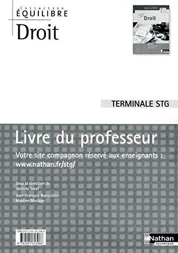 9782091613086: Droit terminal STG : Livre du professeur