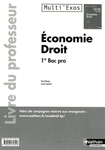 9782091616018: Economie Droit 1re Bac Pro 3 ans (French Edition)