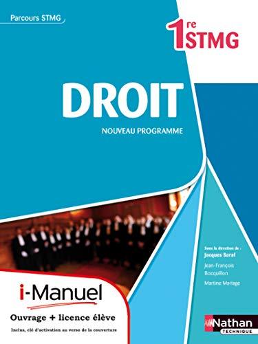 Droit Première Stmg (Parcours Stmg) Licence Numerique Eleve I-Manuel+Ouvrage Papier: ...