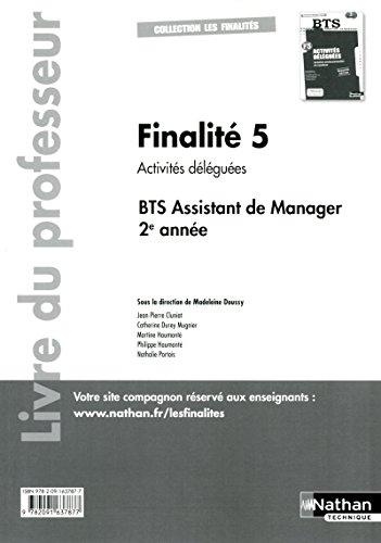 Finalité 5 - Activités déléguées - BTS AM 2e année
