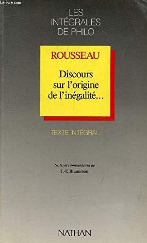 Discours sur l'origine de l'inégalité--: Rousseau Jean-Jacques