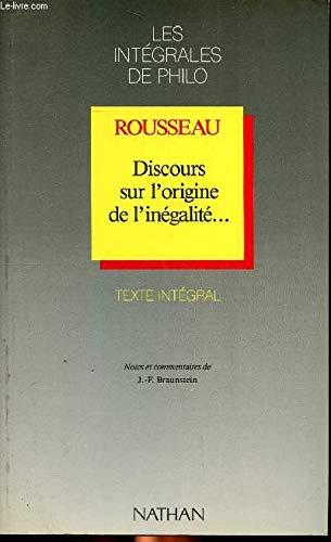 Discours sur l'origine de l'inégalité--: Jean-Jacques Rousseau Jean-Franois