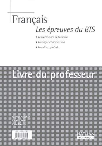 9782091793245: Français. : Les épreuves du BTS. Livre du professeur