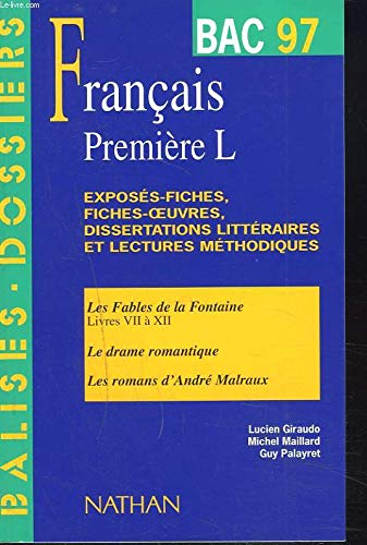 9782091813158: Dossier Bac 1997, Fran�ais, 1re L