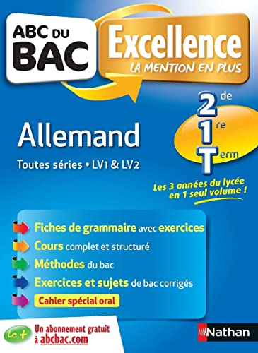 9782091880914: ABC du BAC Excellence Allemand 2de.1re.Term