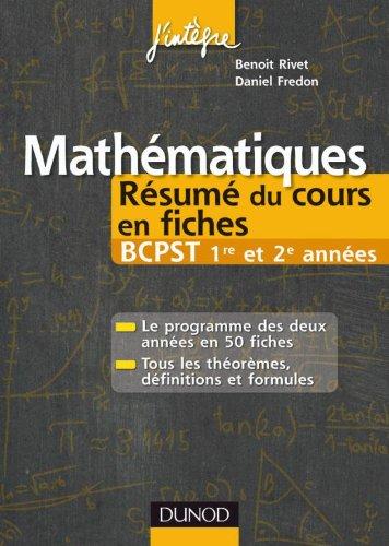 9782100549313: Mathématiques Résumé du cours en fiches BCPST 1re et 2e années