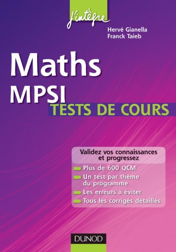 9782100554119: Maths MPSI - tests de cours (French Edition)