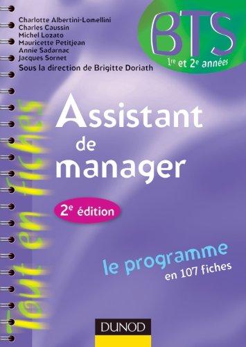 9782100559886: Assistant de manager -2e ed. - le programme en 107 fiches