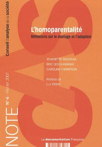9782110065087: L'homoparentalité Réflexions sur le mariage et l'adoption (n.6-Février 2007)