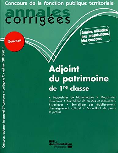 ADJOINT DU PATRIMOINE DE 1RE CLASSE. CAT: COLLECTIF