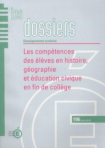 9782110978158: Les compétences des élèves en histoire, géographie et éducation civique en fin de collège