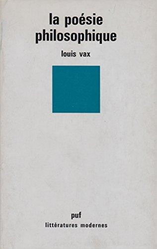 La Poésie philosophique Vax, Louis