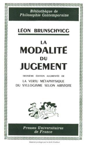 La modalité du jugement, 3e édition (2130407528) by Brunschvicg, Léon