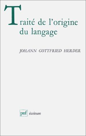 TRAITE DE L'ORIGINE DU LANGAGE: HERDER J.G.