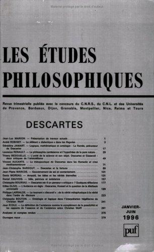 Les études philosophiques, 1996, n°1-2 : Descartes: Collectif
