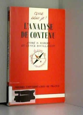 9782130485612: Analyse du contenu (l')