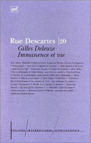9782130492184: Gilles Deleuze: immanence et vie