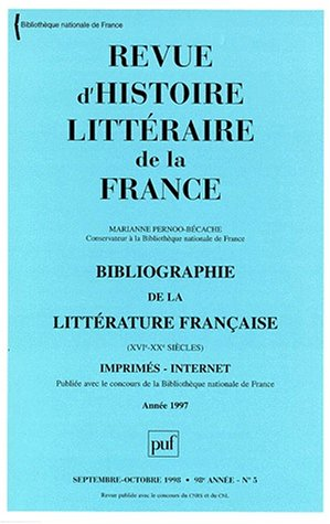 Rev. hist.litt.de la France 1998 n.5 (French Edition): Collectif