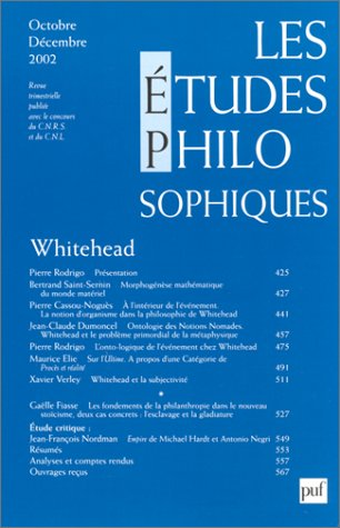 Etudes Philosophiques Octobre Decembre 4-2002 (French edition) (2130526063) by Collectif