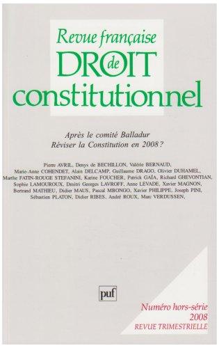 Revue Francaise de Droit Constitutionnel 2008 Hors Serie (French Edition)