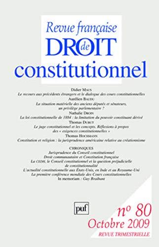 Revue française de Droit constitutionnel, N° 80 (French edition): Collectif