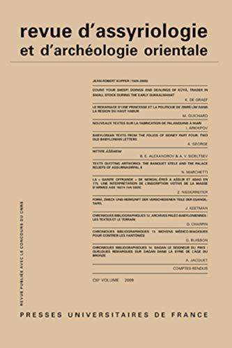 revue d'assyriologie et d'archeologie t.103: Jean-Robert Kupper