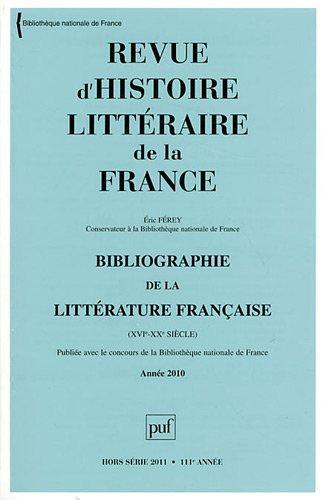 Revue d'histoire littéraire de la France, Hors série 2011 : ...