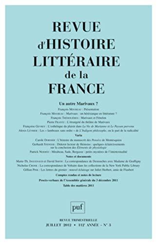 Revue d'histoire littéraire de la France, N°