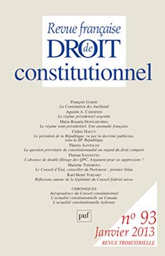 9782130618416: Revue française de droit constitutionnel 2013 n° 93