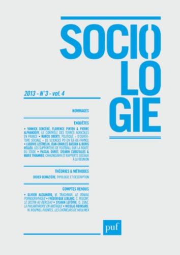 Revue Sociologie 2013, no 03: Collectif