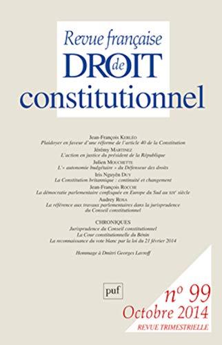 Revue française droit constitutionnel, no 99: Collectif