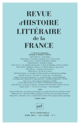 Revue d'histoire littéraire de la France 2016, no 01: Collectif