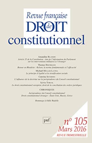 Revue française de droit constitutionnel, no 105: Collectif