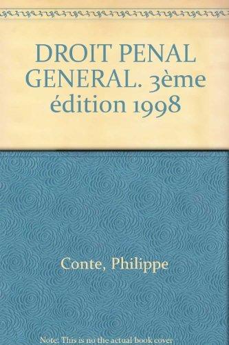 9782200019884: DROIT PENAL GENERAL. 3�me �dition 1998