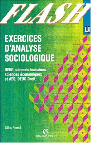9782200215101: Exercices d'analyse sociologique , DEUG sciences humaines, DEUG sciences économiques et AES, DEUG droit