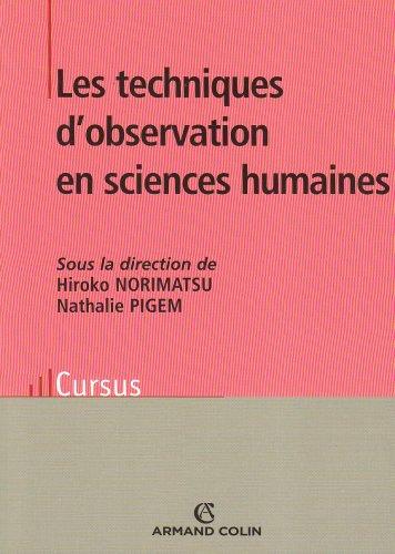 9782200351731: Les techniques d'observation en sciences humaines