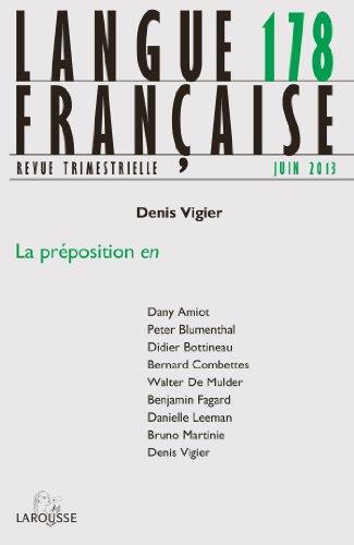 9782200928438: Langue française Nº178 (2/2013): La préposition EN
