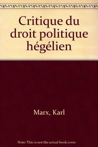 9782209053704: Critique du droit politique hégélien